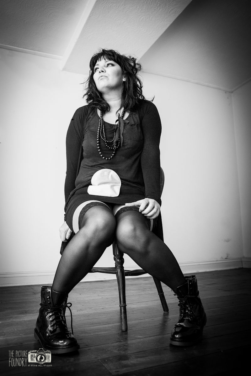 ileostomy and stoma photo shoot black and white female woman with colostomy bag