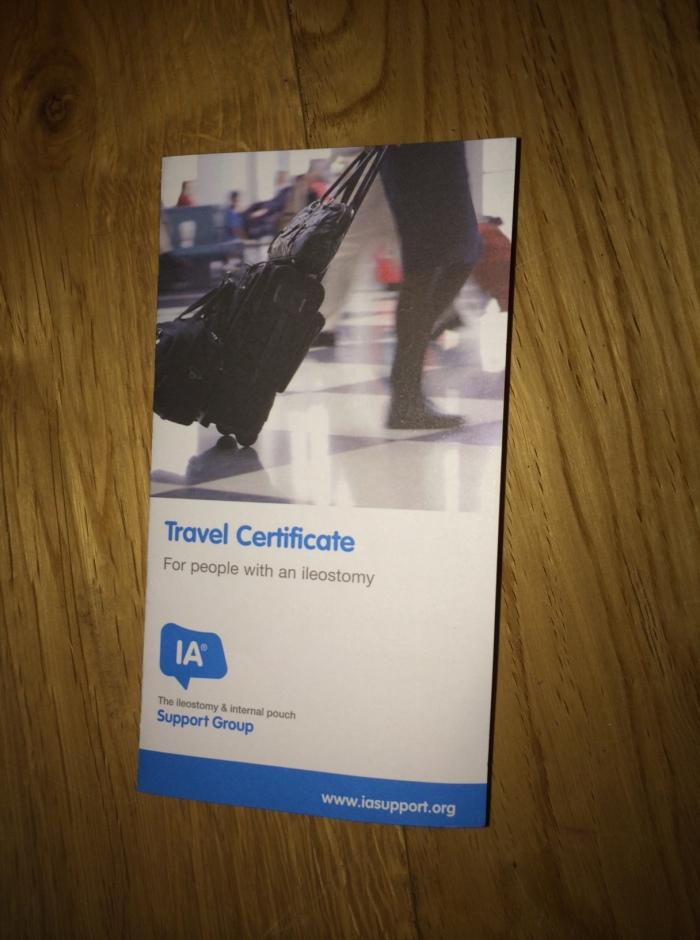 ileostomy travel certificate