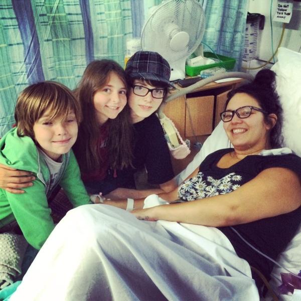 kids visiting sick mums in hospital