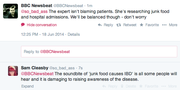 newsbeat twitter junk food ibd